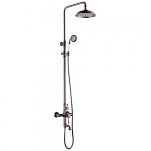 Смеситель для ванны и душа верхней душевой лейкой «Тропический дождь» PERETTO LM6362RB