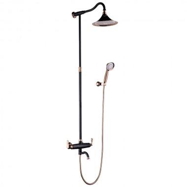 Смеситель для ванны и душа верхней душевой лейкой «Тропический дождь» PRIME LM6162BRG